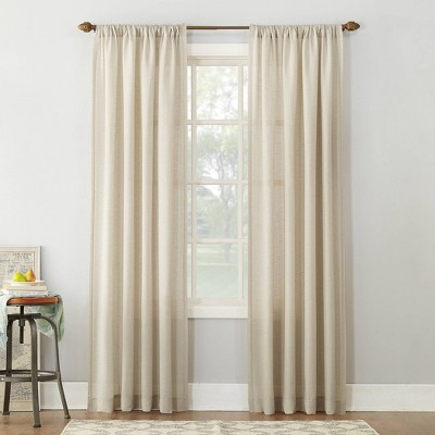 "63""x54"" Linen Blend Textured Sheer Rod Pocket Window Curtain Panel Ivory - No. 918"