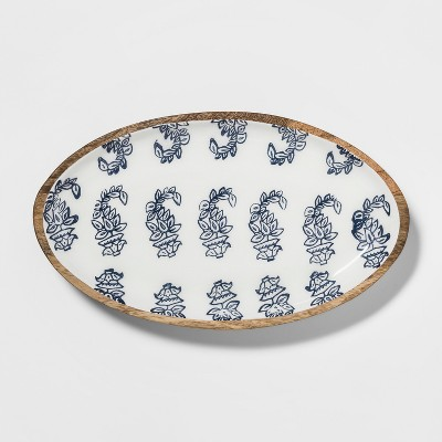 12  x 7  Wood And Enamel Tray Blue/White - Threshold™