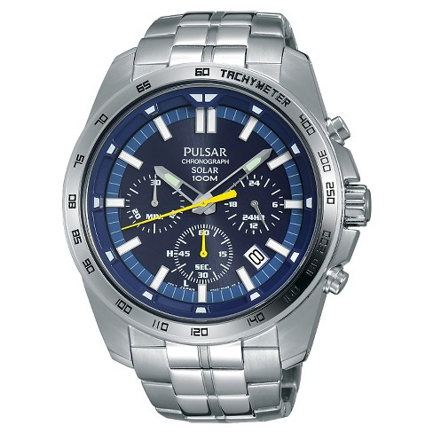Men's Pulsar Solar Chronograph - Silver Tone with Blue Dial PZ5001 - image 1 of 1