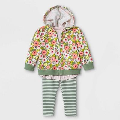 Baby Girls' 3pc Floral Hoodie Top & Bottom Set - Cat & Jack™ Pink 6-9M