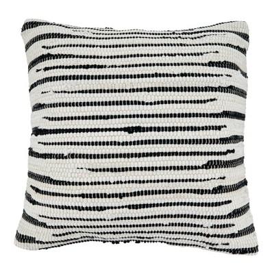 """22""""x22"""" Zebra Chindi Design Cotton Throw Pillow Cover Black/White - Saro Lifestyle"""