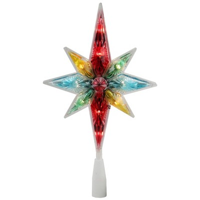 "Northlight 10.75"" Vibrantly Colored Faceted Star of Bethlehem Christmas Tree Topper - Clear Lights"