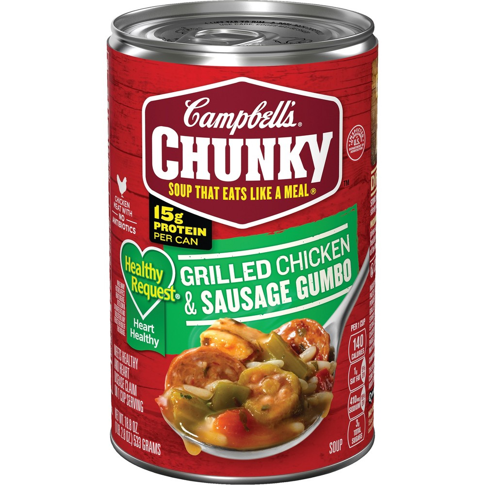 Campbell's Chunky Healthy Request Grilled Chicken & Sausage Gumbo Soup 18.8 oz