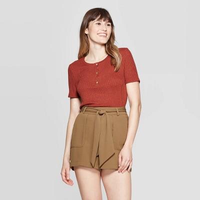 Women's Short Sleeve Henley Neck Rib Knit T-Shirt - A New Day™ Brown S