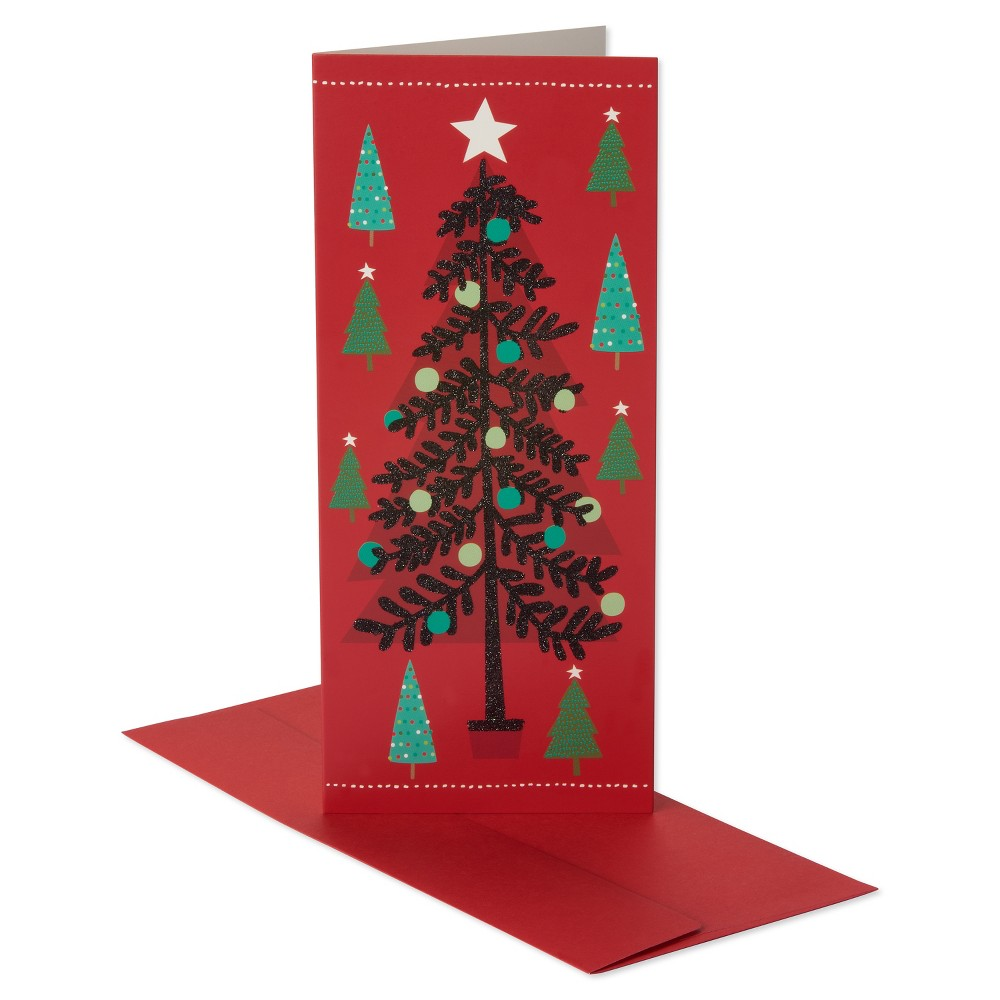 14ct American Greetings Tree with Black Glitter Holiday Boxed Cards, Multi-Colored