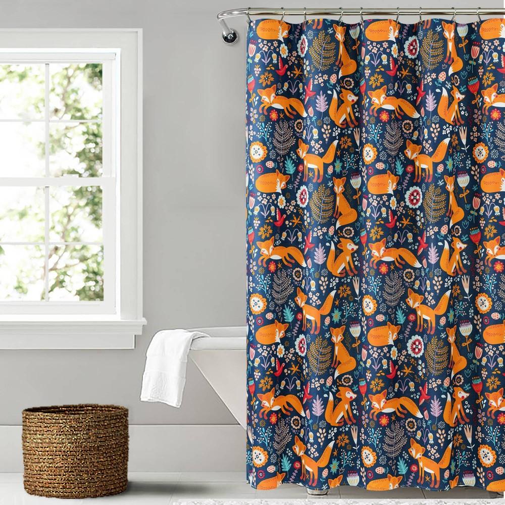 "Image of ""72""""x72"""" Pixie Fox Shower Curtain Navy - Lush Décor"""
