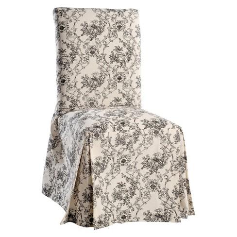 Black Cream Toile Print Dining Room Chair Sofa Slipcover