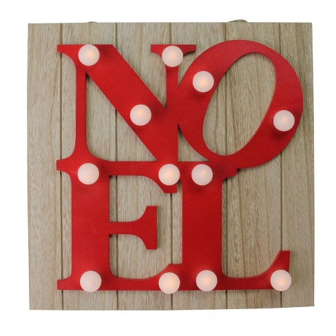 northlight 10 candy apple red letter noel decorative battery operated wall decor