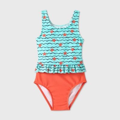 Toddler Girls' Starfish One Piece Swimsuit - Cat & Jack™ Blue
