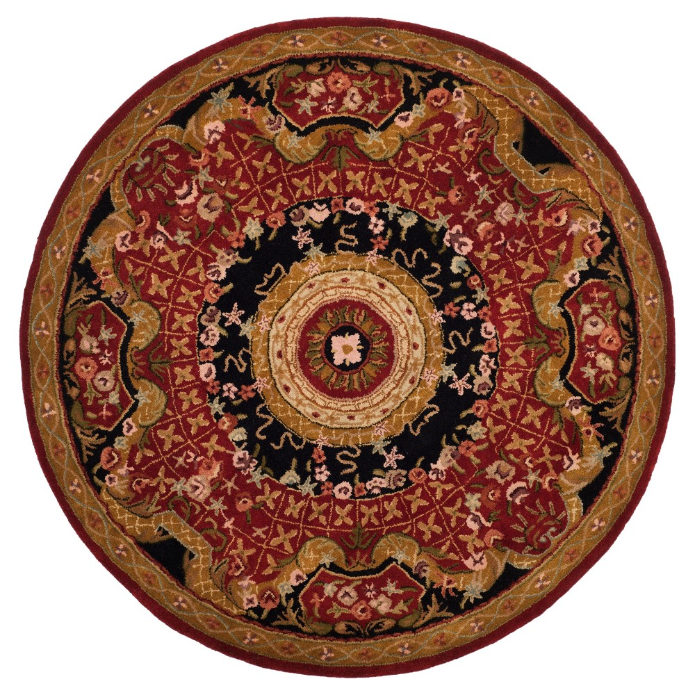 Burgundy/Black Abstract Tufted Round Area Rug - (6') - Safavieh, Red/Black