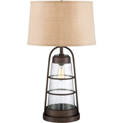 Franklin Iron Works Industrial Lantern Lamp with Night Light with Table Top Dimmer