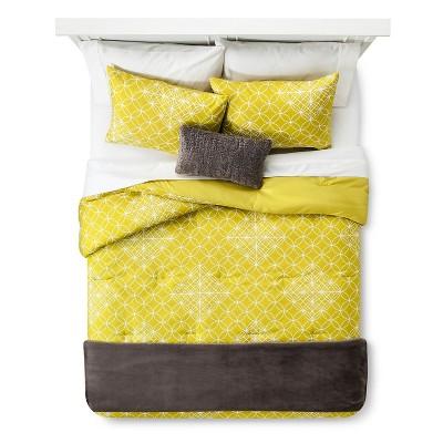 Full/Queen Geometric Comforter Set Yellow/Gray - Room Essentials™