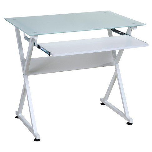 Ultramodern Glass Computer Desk Pull Out Keyboard Steel Frame