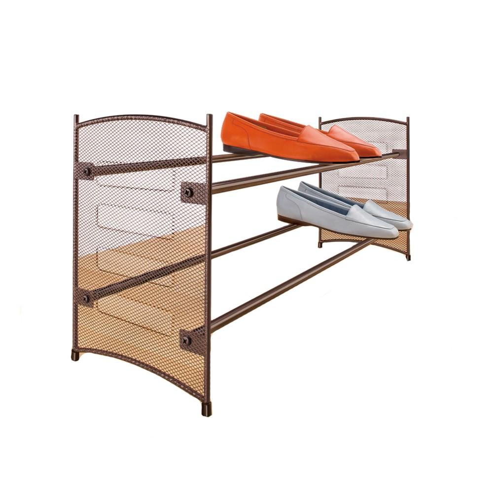 Image of Lynk Expandable Stackable Shoe Rack - Steel Mesh Shoe Shelf - Bronze, Yellow