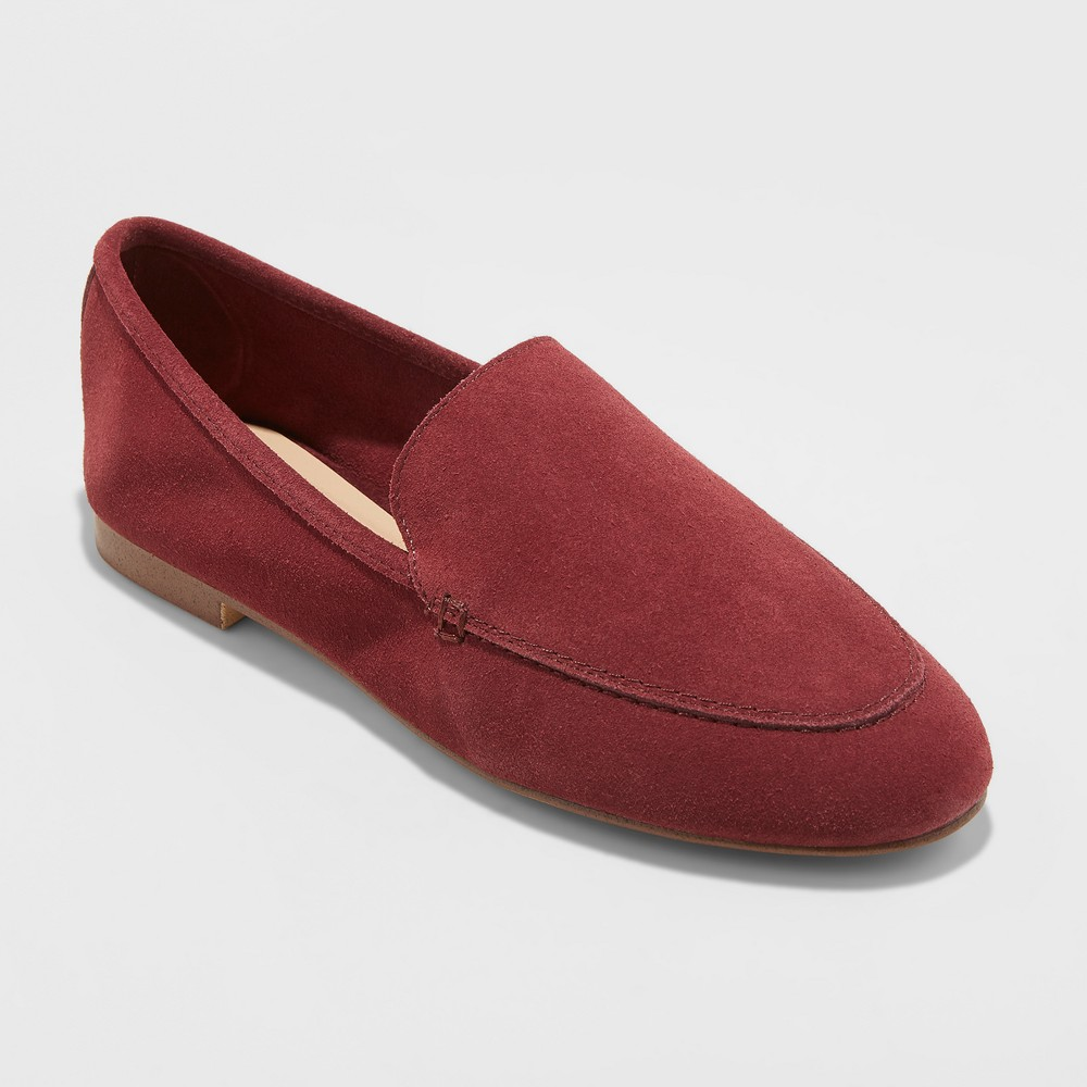 Women's Mila Wide Width Suede Loafers - A New Day Burgundy (Red) 10W, Size: 10Wide
