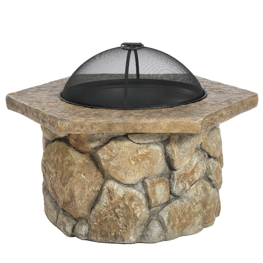 Emmerson 32 Concrete Wood Burning Fire Pit - Hexagon - Natural Stone (Grey) - Christopher Knight Home
