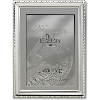 """Lawrence Frames Verona Collection 4"""" x 5"""" Metal Silver Picture Frame with Beads 11645"""