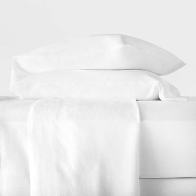 Queen 100% Washed Hemp Solid Sheet Set White - Casaluna™