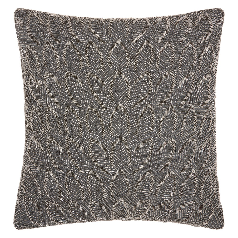 Image of Luminecence Beaded Feathers Pewter Oversize Square Throw Pillow Dark Gray - Mina Victory