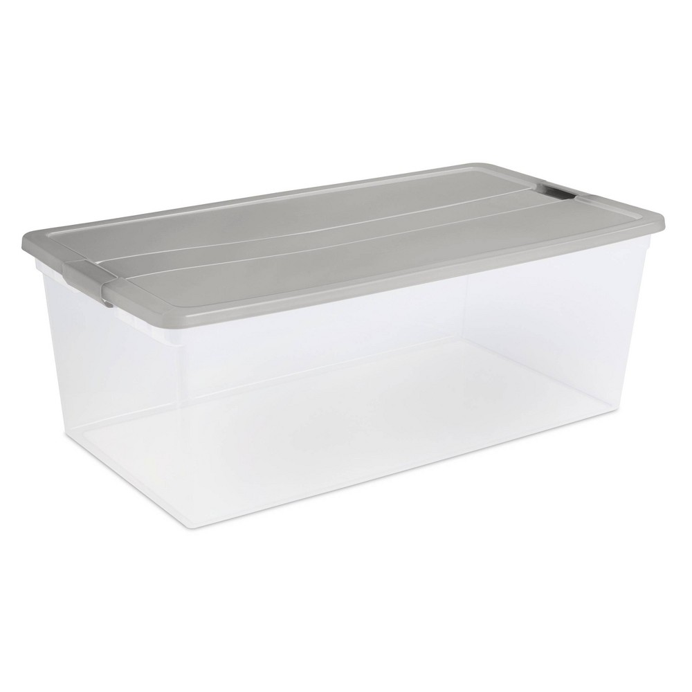 110qt Latching Utility Storage Tub - Room Essentials , Gray Create an efficient storage solution within your limited space with this 110-Quart Utility Storage Tub from Room Essentials™. This gray utility bin makes for a convenient storage solution to organize everyday essentials or store out-of-season clothing, and its clear design lets you easily identify the contents inside. With a stackable design and large storage space, you can keep multiple items in one place and easily stack bins atop one another. Perfect for storing clothing, holiday decor, extra blankets and more, you'll appreciate the convenience of this plastic storage bin with lid. Gender: unisex. Pattern: Solid.
