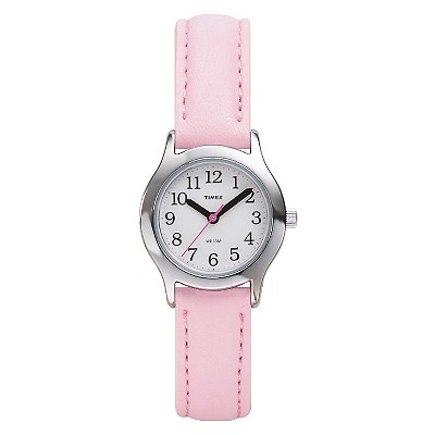 Kid's Timex Easy Reader  Watch with Leather Strap - Silver/Pink T790819J