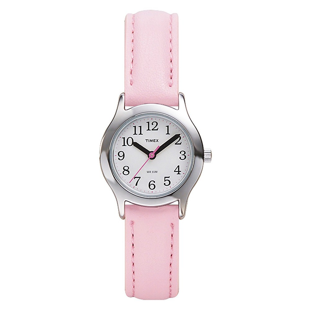 Image of Kid's Timex Easy Reader Watch with Leather Strap - Silver/Pink T790819J, Women's, Size: Small