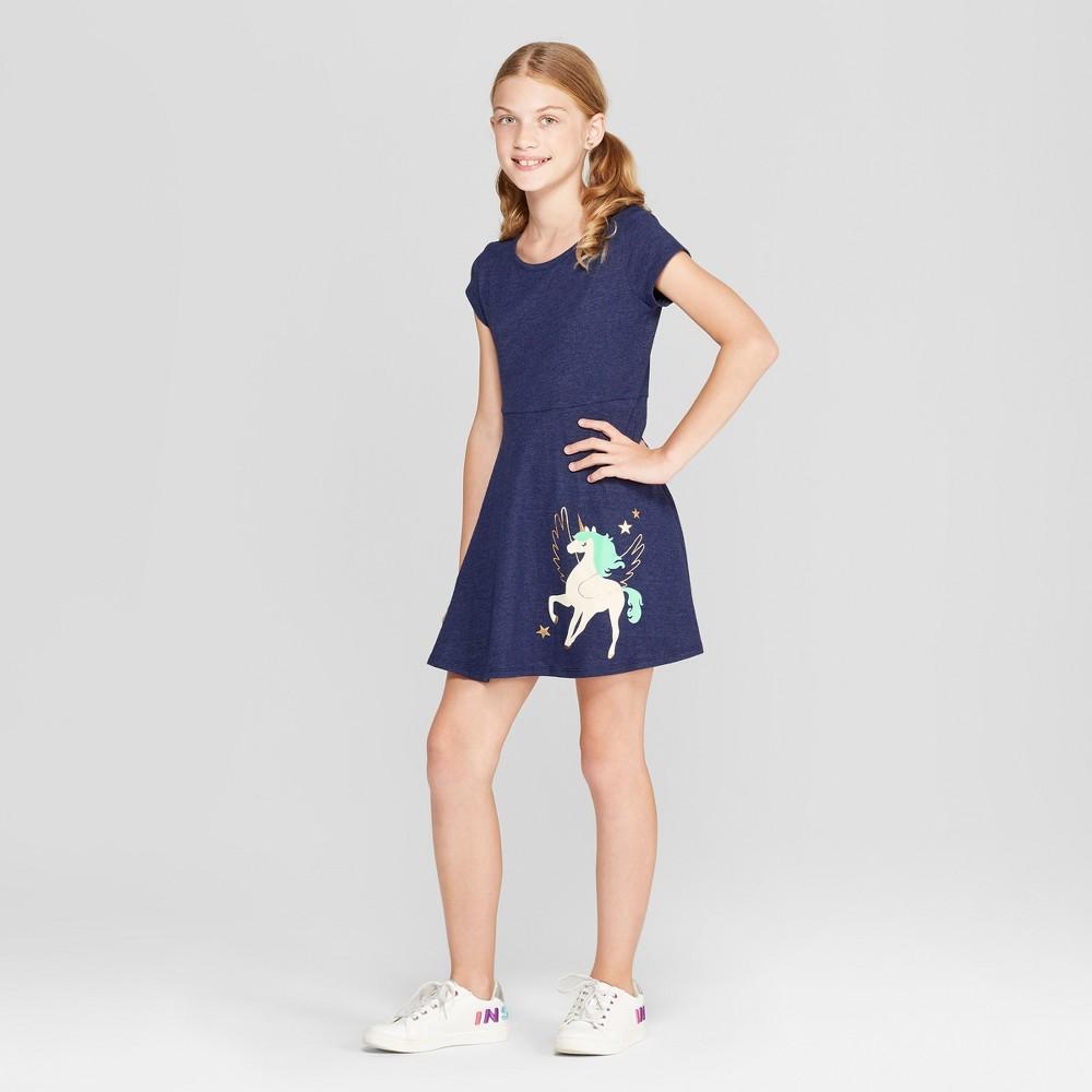 Girls' Short Sleeve A Line Dress - Cat & Jack Navy S, Blue