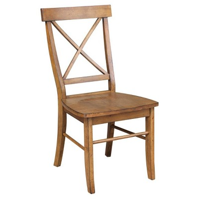 Set of 2 X Back Chairs with Solid Wood Seat Pecan - International Concepts