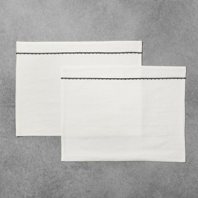 2pk Placemat White with Black Embroidery - Hearth & Hand™ with Magnolia