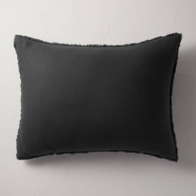King Euro Heavyweight Linen Blend Throw Pillow Washed Black - Casaluna™