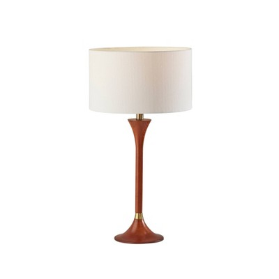 Rebecca Table Lamp Walnut Rubberwood with Antique Brass Accent - Adesso