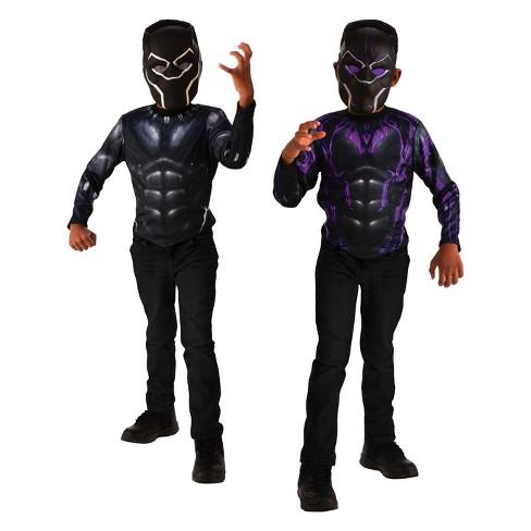 30799273 Kids' Black Panther 2-In-1 Reversible Halloween Costume Top Set