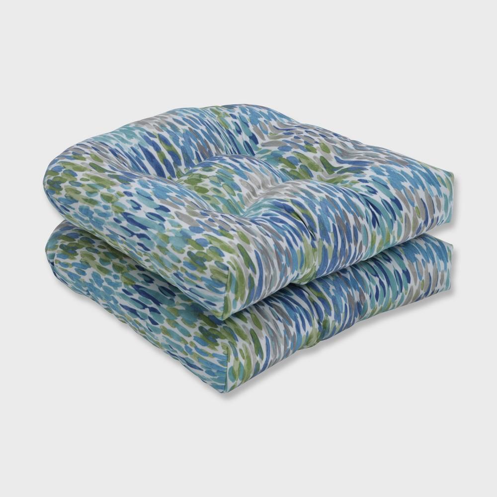 2pk Make It Rain Wicker Outdoor Seat Cushion Cerulean Blue Pillow Perfect