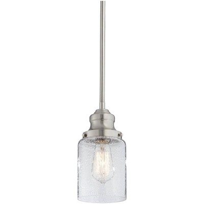 """Possini Euro Design Brushed Nickel Mini Pendant Light 5"""" Wide Modern Seeded Clear Glass Fixture for Kitchen Island Dining Room"""