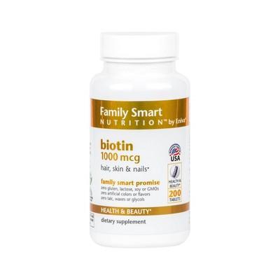 Family Smart Nutrition Biotin 1000mcg Tablets - 200ct