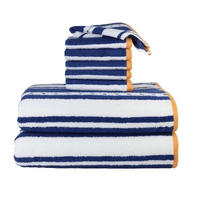 8pc Striped Bath Towels and Washcloths Set Navy - Freshee
