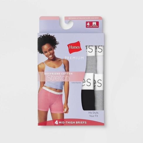 ea4d580bfe28 Hanes Premium Women's 4pk Comfortsoft Waistband with Cotton Long Leg Boxer  Briefs