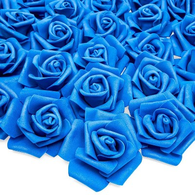 "Bright Creations 3"" Navy Blue Artificial Rose Fake Flower Heads for Making Bouquets and Decor, 100 Pack"