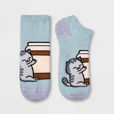 Women's Coffee Cat Low Cut Socks - Xhilaration™ Blue 4-10