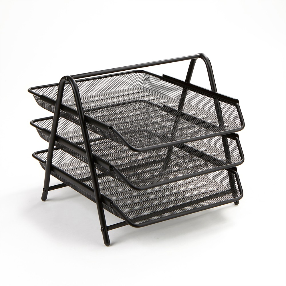 Image of 3 Tier Mesh Document Tray Black - Mind Reader