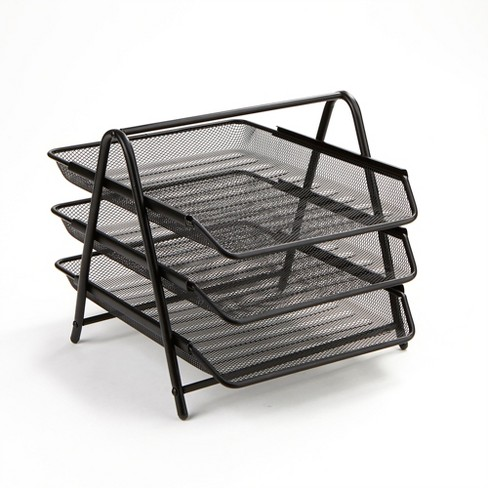 3 Tier Mesh Document Tray Black - Mind Reader - image 1 of 4