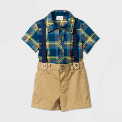 Baby Boys' Short Sleeve Plaid Suspender Top & Bottom Set - Cat & Jack™ Blue 24M