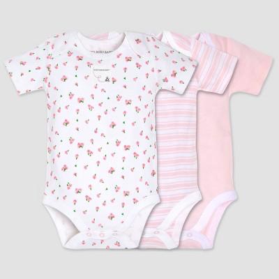 Burt's Bees Baby® Organic Cotton Girls' 3pk Tulip Bodysuit - Pink 3-6M