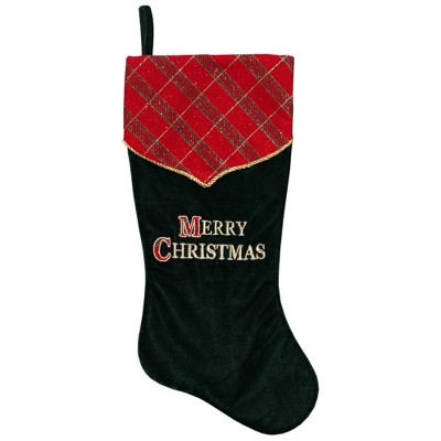 """Northlight 19"""" Green and Red 'Merry Christmas' Christmas Stocking"""