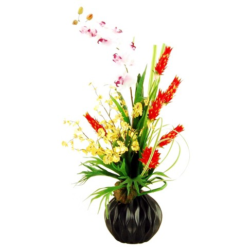"""Artificial Mixed Floral Arrangement Red/Yellow/White 38"""" - LCG Florals - image 1 of 1"""