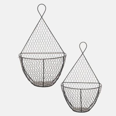2pc 12  Metal Bazaar Wall Baskets Gray - Foreside Home & Garden