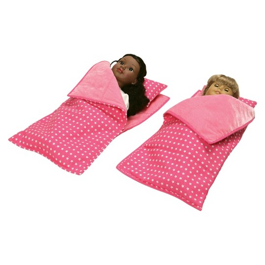 """Badger Basket Double Trolley 18"""" Doll Carrier with Two Sleeping Bags - Star Pattern image number null"""