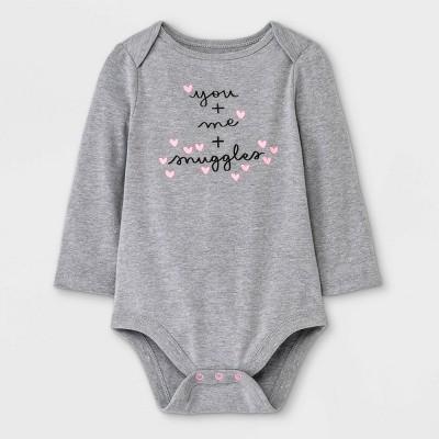 Baby Girls' 'You + Me + Snuggles' Long Sleeve Bodysuit - Cat & Jack™ Gray 0-3M