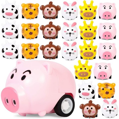24-Pack Mini Animal Pull Back Cars in 6 Designs for Toddlers and Kids Birthday Party Favors, Pinata Fillers, Goodie Bags, 1.5 x 1 inches - image 1 of 4