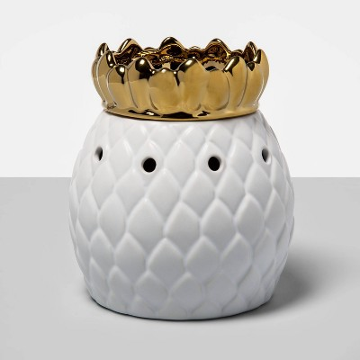 "6.5"" x 4.5"" Pineapple Dish Electric Scent Warmer Gold/White - Opalhouse™"